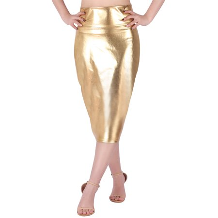HDE Women's Shiny Metallic Faux Leather Below Knee Midi Bodycon Pencil Skirt (Gold, - Gold Metallic Skirt