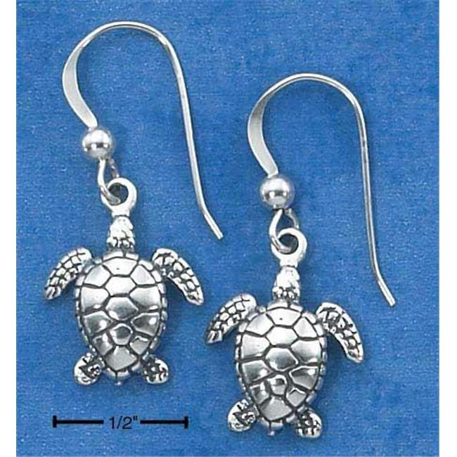Sterling Silver Antiqued Mini Swimming Turtle Earrings On French Wire S