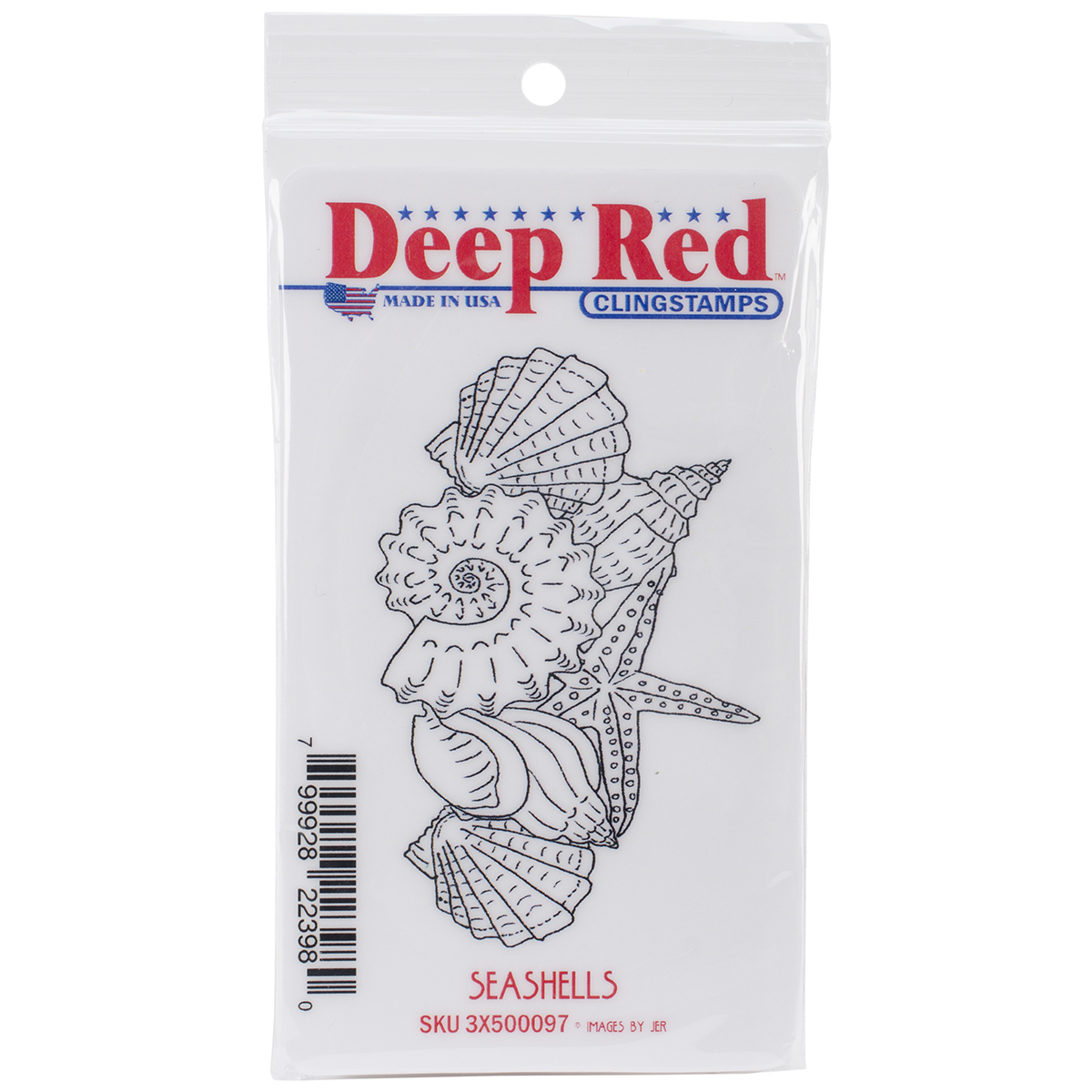"Deep Red Cling Stamp 2""X3.5""-Seashells"