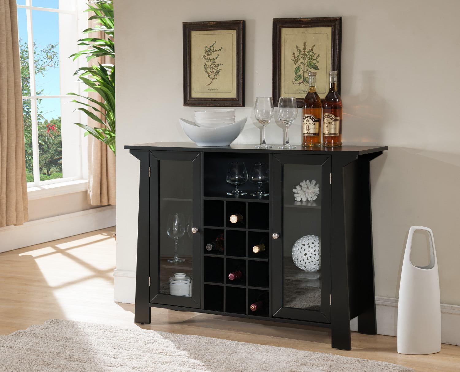 Black Wood Contemporary Wine Rack Sideboard Buffet Display Console Table With Glass Cabinet Storage Doors & Shelf by