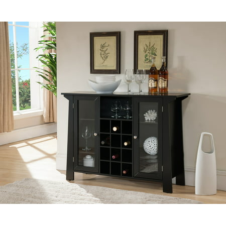 - Jesse Black Wood Contemporary Wine Rack Sideboard Buffet Display Console Table With Glass Cabinet Storage Doors & Shelf