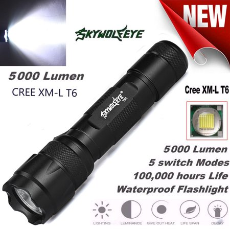 XML T6 LED Tactical Police Flashlight Torch Lamp Light 18650 5 Modes Flashlight Police Equipment
