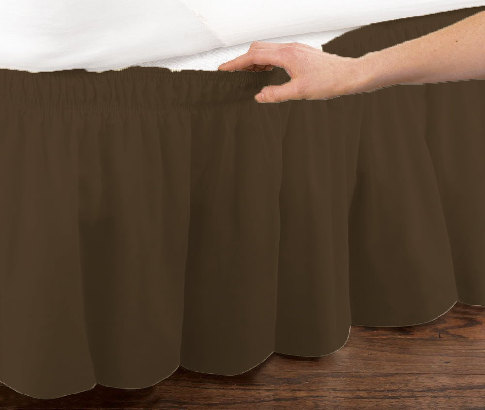 Chocolate Brown Elastic Ruffled Bedskirt: Wrap Around Easy Fit, Queen or King Size by