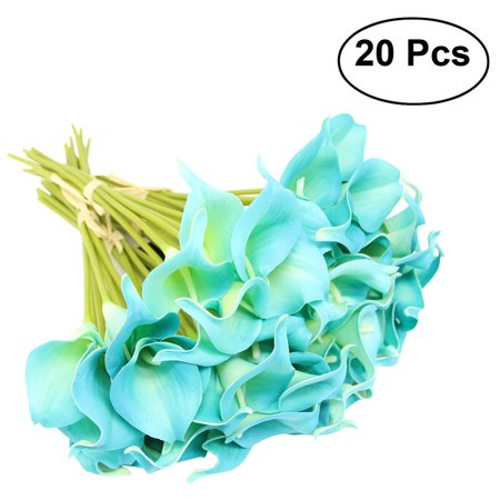 Calla Lily Orchid Bouquet (20pcs Artificial Calla Lily Bridal Wedding Bouquet Flowers Real Touch Decorative Bouquet (Sapphire)