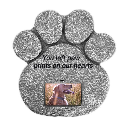 - Paw Print Pet Memorial Stone with Customizable Photo Slot. Loss Of Pet Gift. Dog or Cat Memorial.
