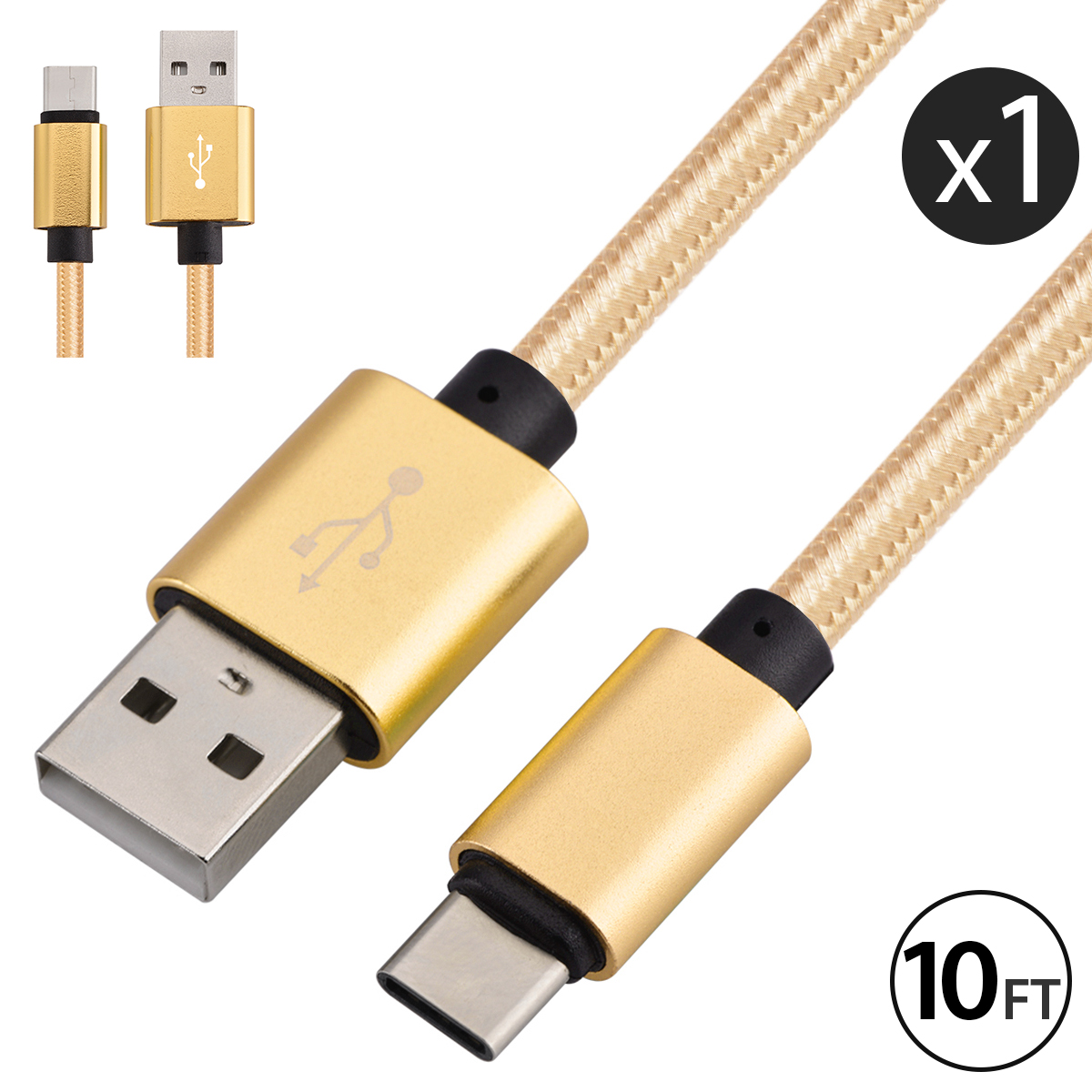 USB Type C Cable Charger, FREEDOMTECH 10ft USB C to USB A Charger Nylon Braided Cable Fast Charger Cord For Samsung Galaxy Note 8, Galaxy S8/S8+, Apple New Macbook, Nexus 6P 5X, Google Pixel, LG G5 G6