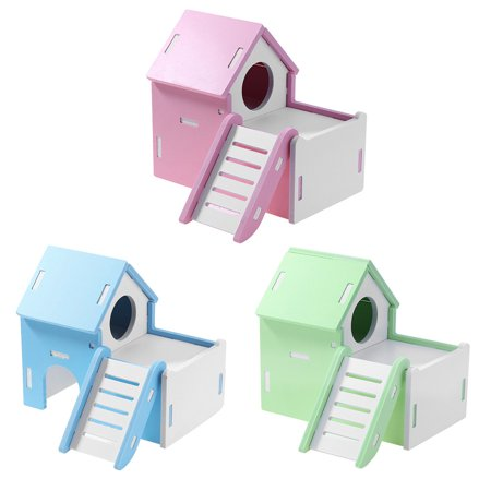 Pet Two Layers Wooden Climbing Villa Toy with Ladder for Small Animal Hamster