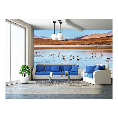 wall26 - Pink Flamingos in Wild Nature of Bolivia, Eduardo Avaroa National Park, South America - Removable Wall Mural | Self-Adhesive Large Wallpaper - 66x96 inches - South Park Halloween Wallpaper