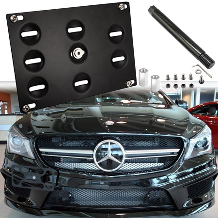 Xotic Tech License Plate Mounting Bumper Tow Hook Bracket for Mercedes GLK GLC GLE Black