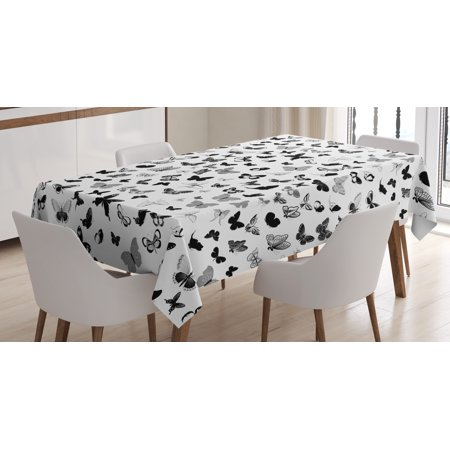 Butterfly Tablecloth, Numerous Types of Butterflies Monochrome Vintage Inspiration Flying Animals, Rectangular Table Cover for Dining Room Kitchen, 60 X 90 Inches, Black Grey White, by Ambesonne