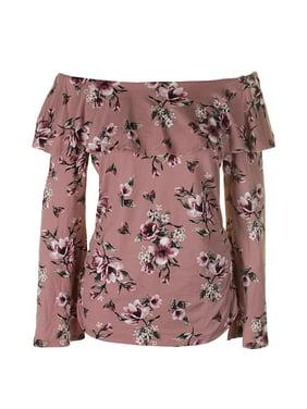 51cc5fa15db73 Product Image Bcx Juniors Pink Floral-Print Off-The-Shoulder Top XL