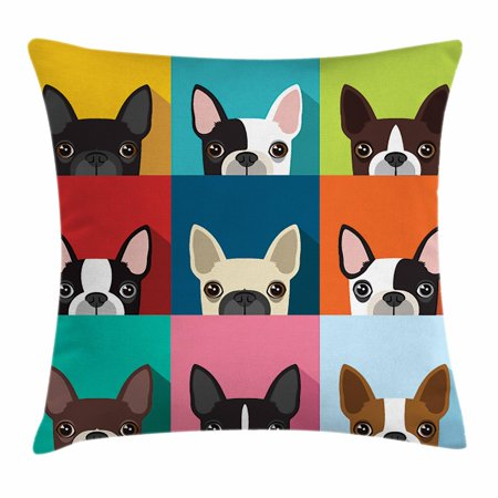 Boston Terrier Throw Pillow Cushion Cover, Minimalist Colorful Assortment of Terrier Portraits Multiple Variations, Decorative Square Accent Pillow Case, 18 X 18 Inches, Multicolor, by