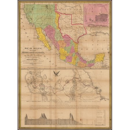 LAMINATED POSTER Map of Mexico, Including Yucatan & Upper California, exhibiting The Chief Cities And Towns, The Principal Travelling Routes &c . . . 1847 POSTER PRINT 24 x - Cities In California That Start With C