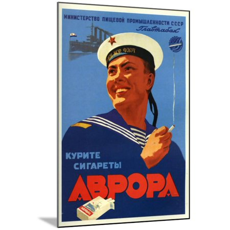 Russian Sailors of the Fleet Prefer Aroma Cigarettes Wood Mounted Print Wall (Wall Mounted Cigarette)