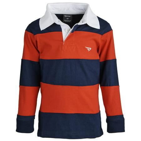 053362ffe94e Sportoli - Sportoli® Big Boys 100% Cotton Wide Striped Long Sleeve Polo  Rugby Shirt - Red (Size 8) - Walmart.com