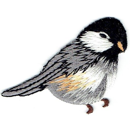 Chickadee - Bird - Natural - Facing Right - Iron on Applique - Embroidered Patch (T Birds Patch Grease)