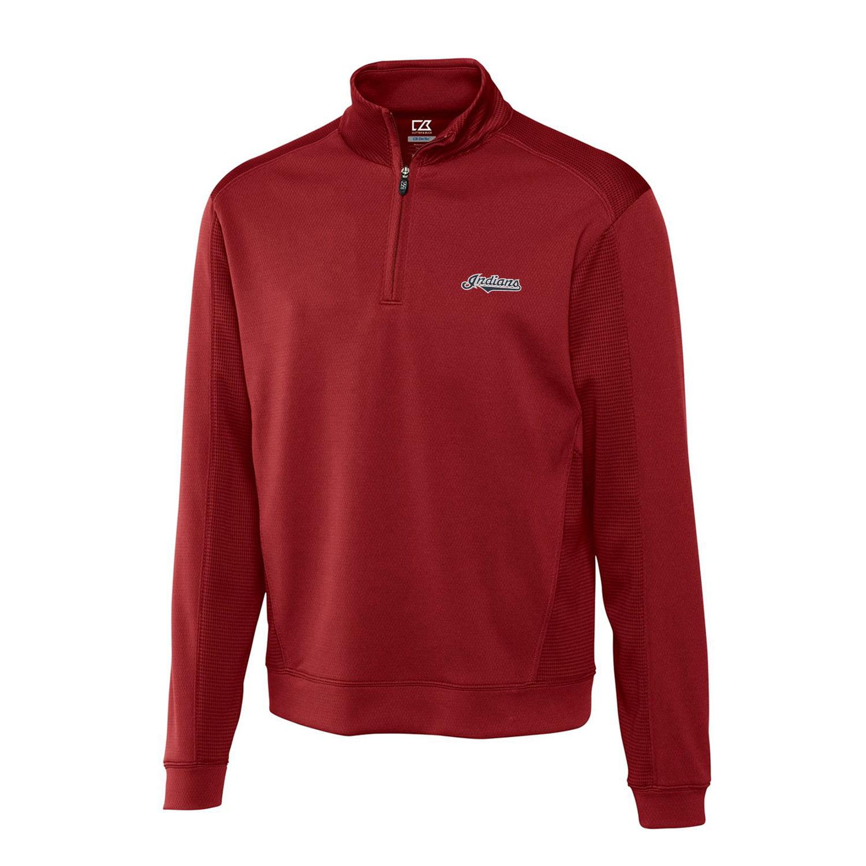 Cleveland Indians Cutter & Buck Half-Zip DryTec Edge Pullover Jacket - Cardinal