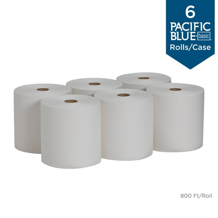 Georgia-Pacific Pacific Blue Basic™ Recycled Paper Towel Roll, 26601, 800 Feet per Roll, 6 Rolls per Case Pacific 800 Series
