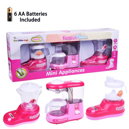 Mini Kitchen Pretend Play Toy Kitchen Appliances Playset with Coffee Maker, Mixer, and Blender Cookware
