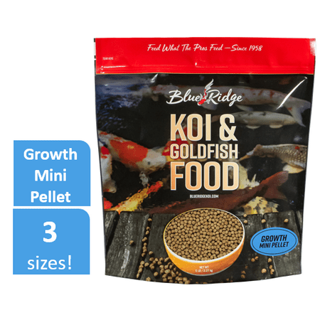 Blue Ridge Growth Formula Koi & Goldfish Food, Mini Fish Food Pellets, 5 (Best Food For Goldfish Growth)