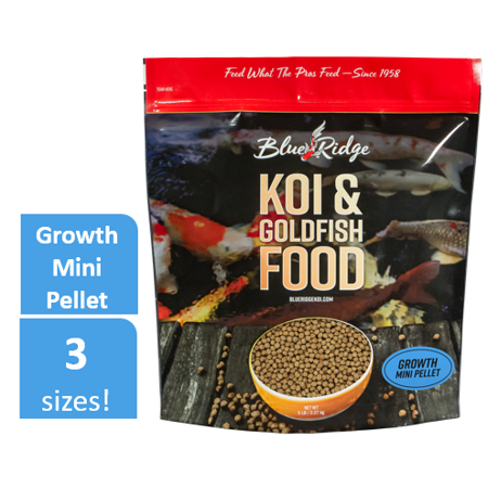 Blue Ridge Growth Formula Koi & Goldfish Food, Mini Fish Food Pellets, 5 lb
