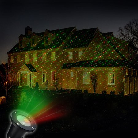 Solar Powered Outdoor Christmas Laser Show Light Projector with 4 Images for the Holiday (Great