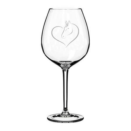 Wine Glass Goblet Heart Horse (20 oz Jumbo)](Glass Hearts)