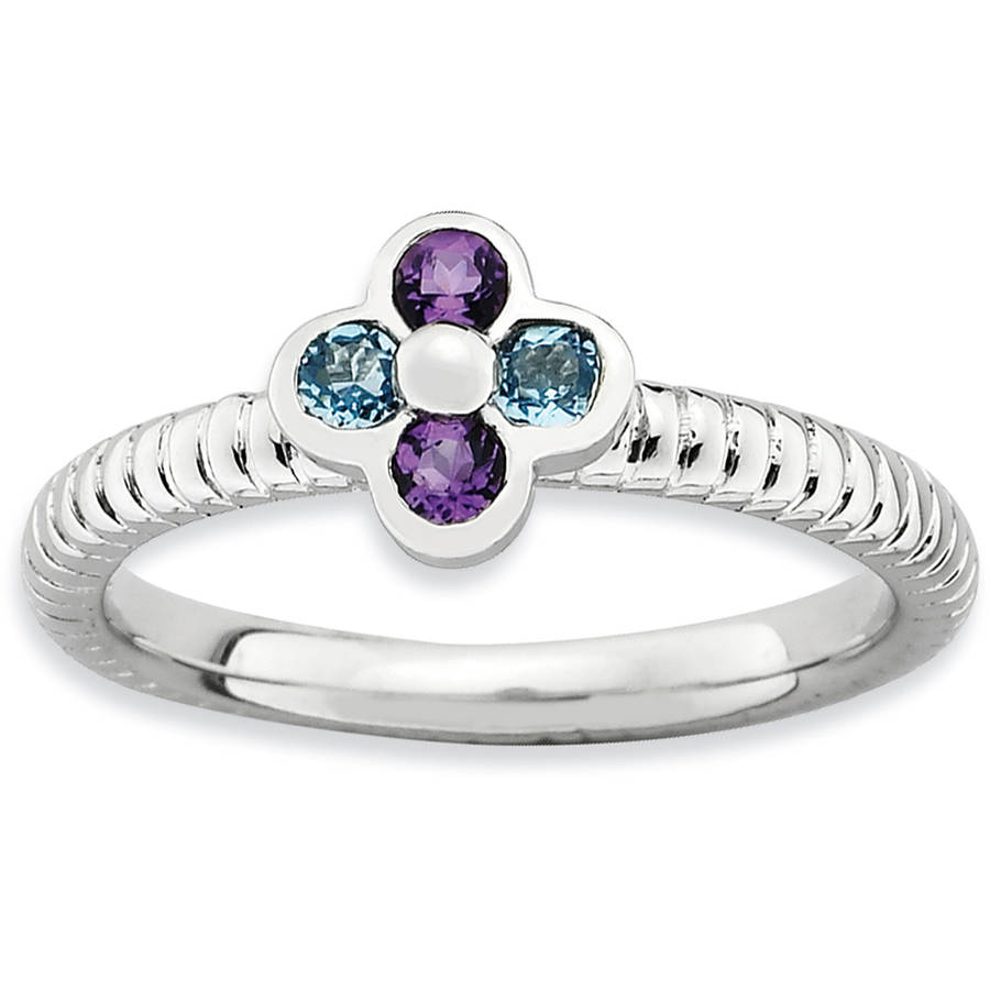 Stackable Expressions Blue Topaz and Amethyst Sterling Silver Flower Ring by Generic