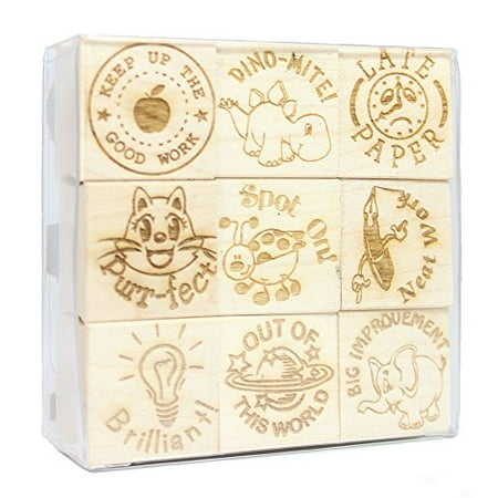Teacher Engraved Wood Rubber Stamp Set - 7 (Teacher Rubber)