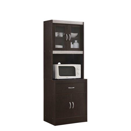 Hodedah Kitchen Cabinet with Top and Bottom Enclosed Cabinet Space, plus 1-Drawer in Chocolate-Grey