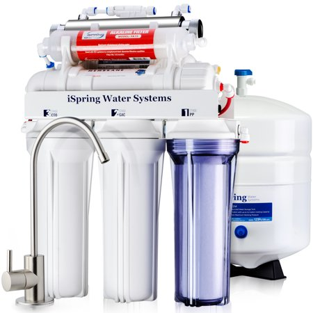 iSpring Reverse Osmosis Water Filter System w/ 11W Flow-sensor UV & Alkaline Mineral Stage - 75GPD WQA Gold Seal Certified 7-stage RCC7AK-UV