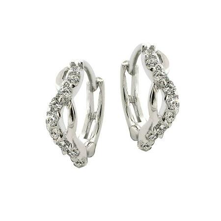 1996 Hoops - Sterling Silver and Cubic Zirconia Twist Hoop Earrings