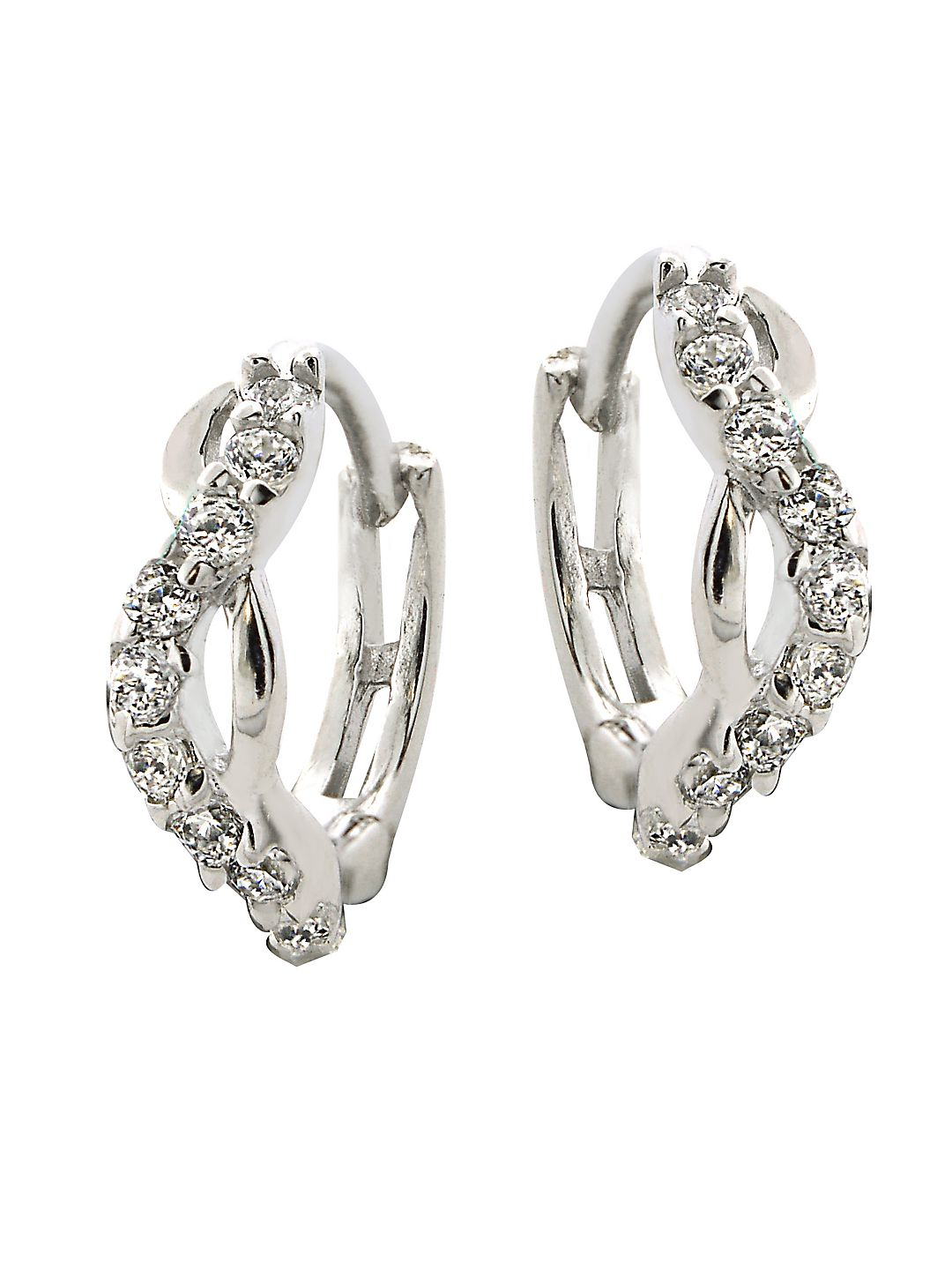 Sterling Silver and Cubic Zirconia Twist Hoop Earrings