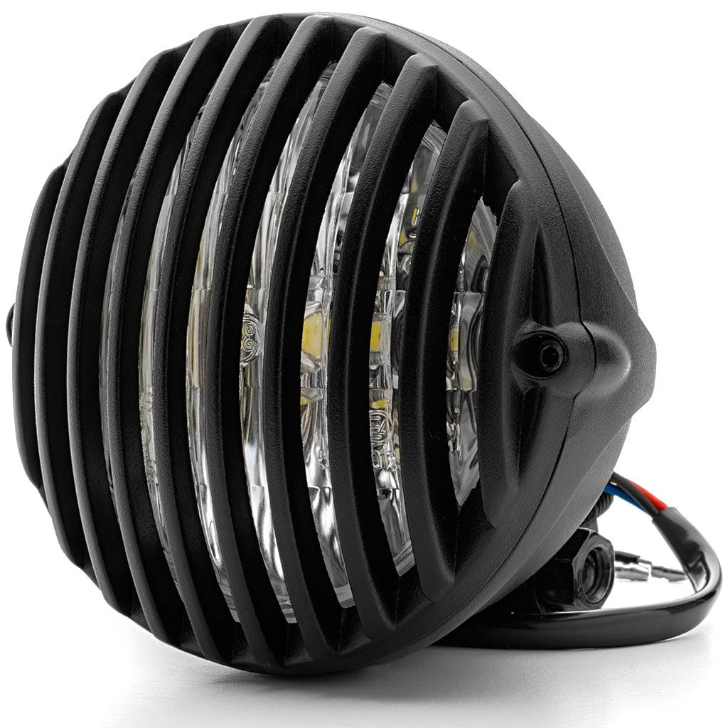 "Krator 5"" Black Vintage Antique Style Grill Prison Chopper Motorcycle Bobber Headlight For Yamaha Road Star Silverado XV Midnight - image 6 de 6"