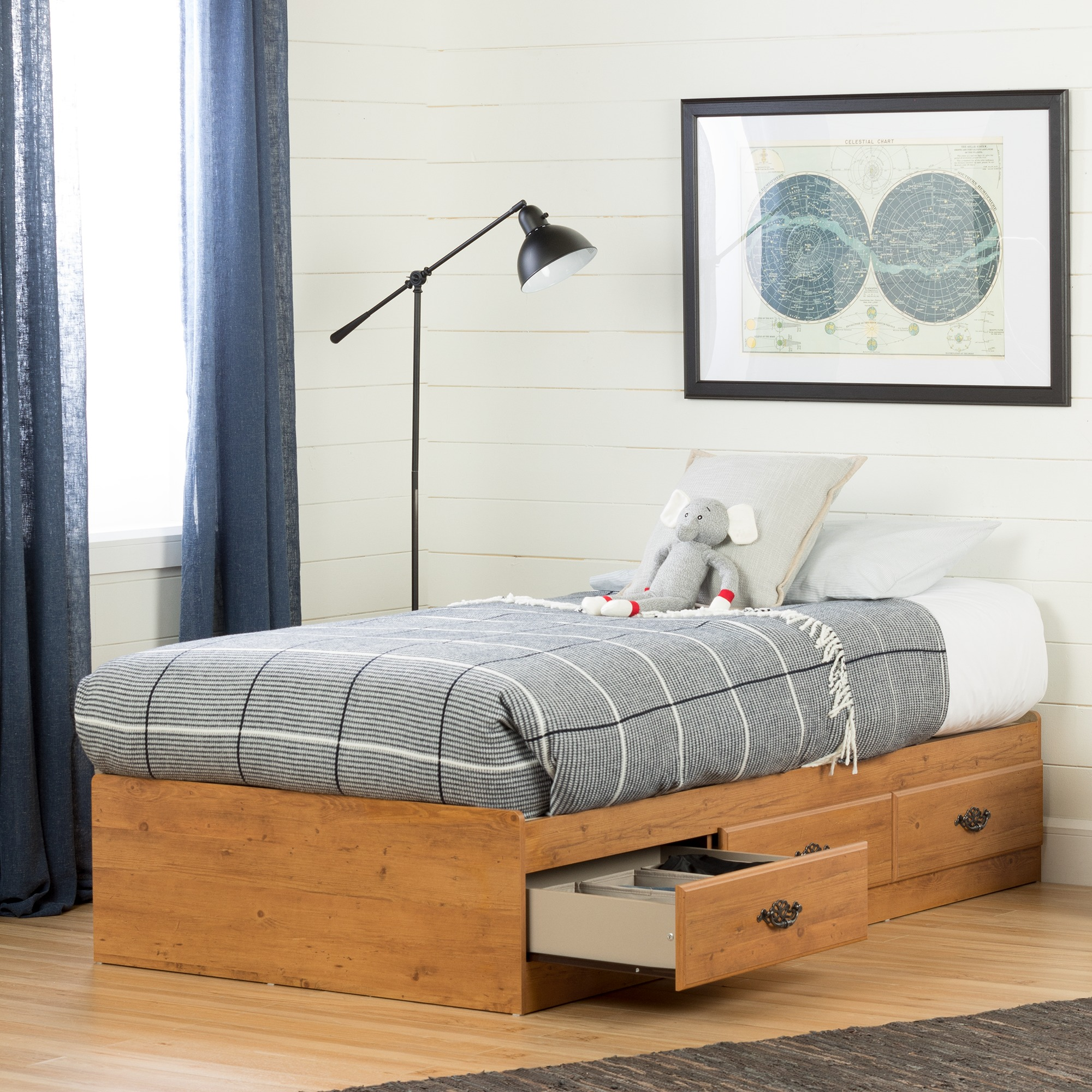 South Shore Prairie Twin Storage Bed (39'') with 3 Drawers, Country Pine