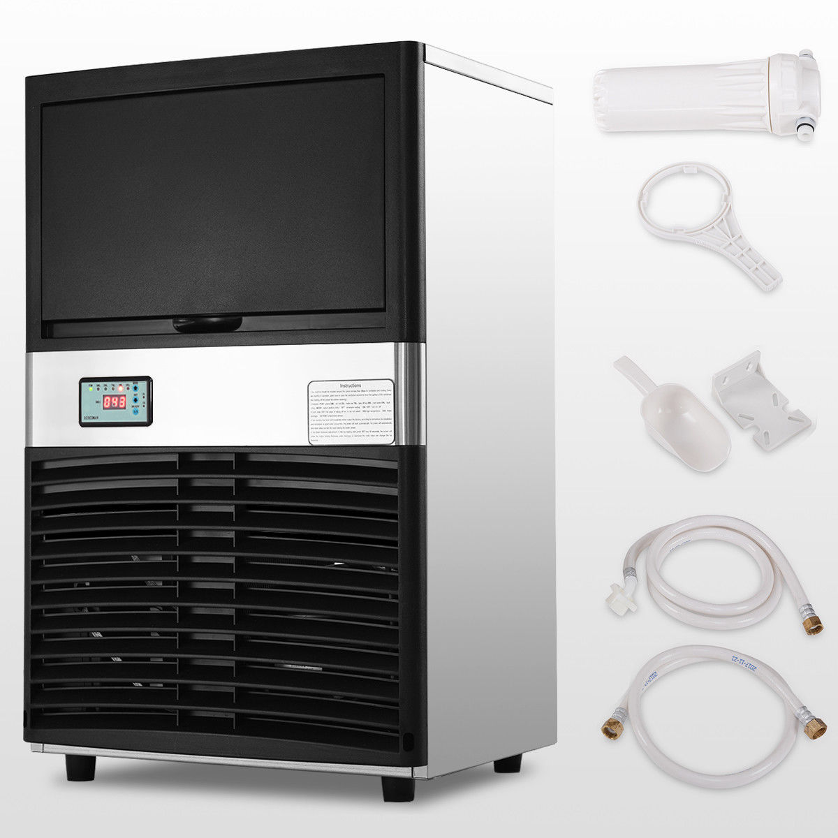 Costway Commercial Ice Maker Automatic Stainless Steel 100lbs/24h Freestanding Portable