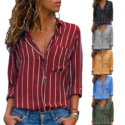 Women's Stripes Button Down Shirts Roll-up Sleeve Tops V Neck Casual Work