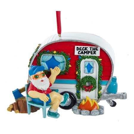 Kurt Adler Santa Camping Deck the Camper  Holiday Ornament Resin - Mini Resin Halloween Ornaments