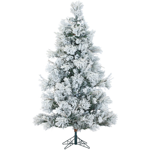 Fraser Hill Farm Pre-Lit 7.5' Snowy Pine Flocked Artificial Christmas Tree with Smart String Lighting