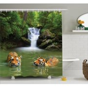 Safari Decor Shower Curtain Set, Siberian Tigers In Water Waterfall Pool Woodland Swimming Asian Natural, Bathroom Accessories, 69W X 70L Inches, By Ambesonne