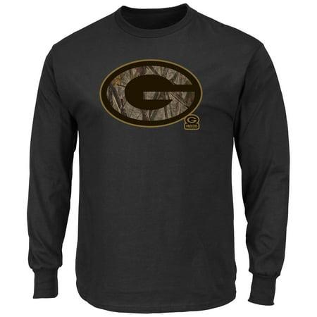 Majestic Green Bay Packers Camo Tek Patch Mens Black Long Sleeve Shirt  Medium