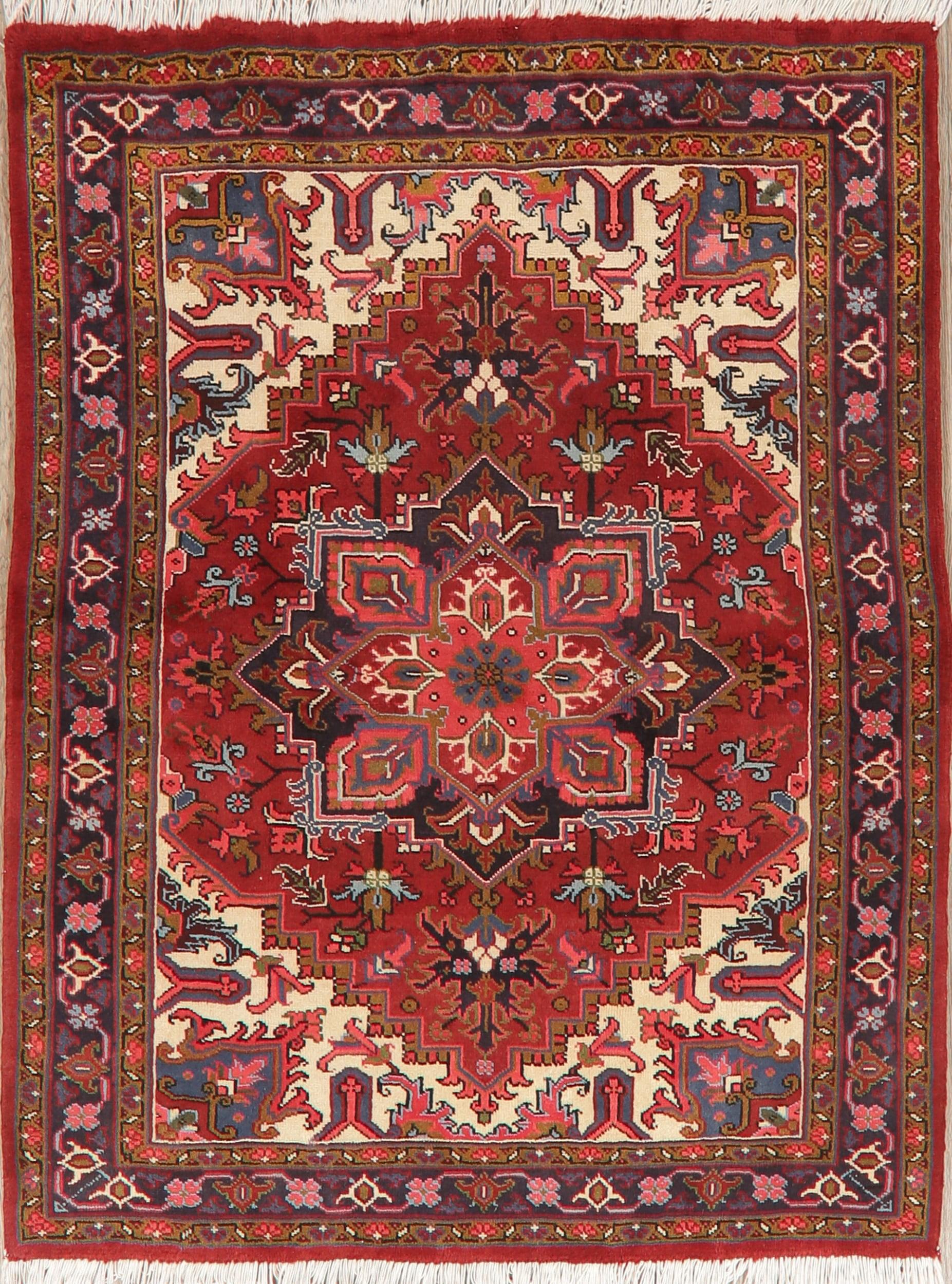 Red Navy Blue Geometric Red Oriental Handmade Area Rug Living Room Wool Carpet 5x6 Walmart Com Walmart Com