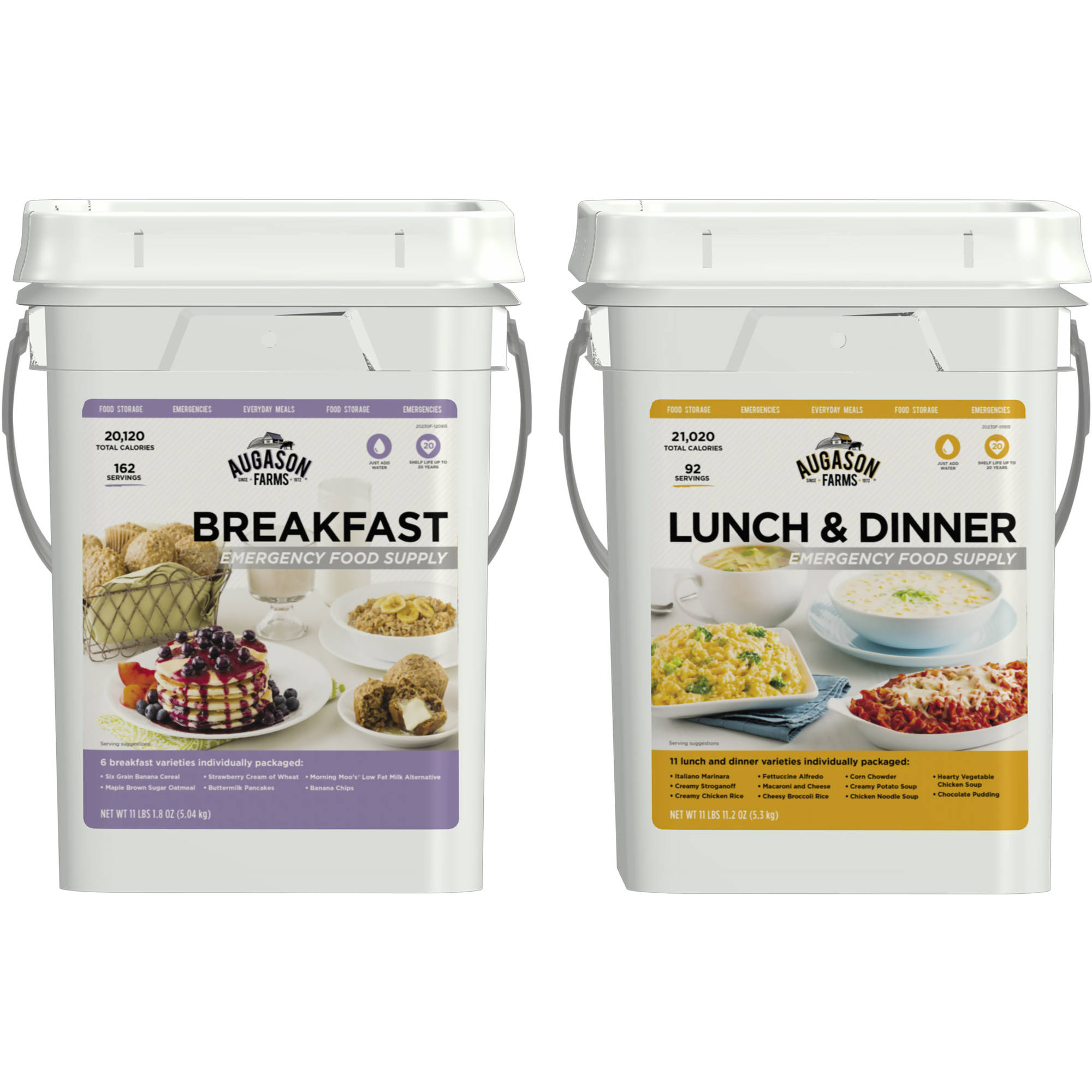 Augason Farms Breakfast/Lunch & Dinner Variety Pack Emergency Food Supply Storage Pails, 2 count