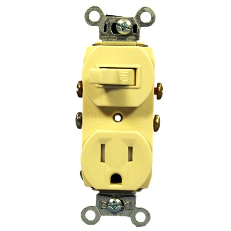 Pass & Seymour Ivory Wall Toggle Switch Outlet Receptacle 5-15R 15A 125V 691TR-I ()