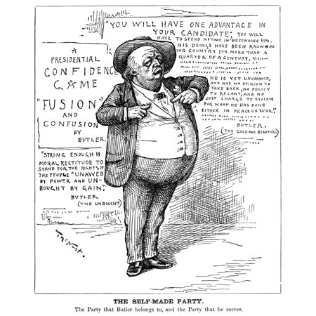 Benjamin Butler  1818 1893  Namerican Soldier And Politician Cartoon 1884 By Thomas Nast Attacking Butlers Presidential Nomination By The Anti Monopoly And National  Greenback  Parties Rolled Canvas A