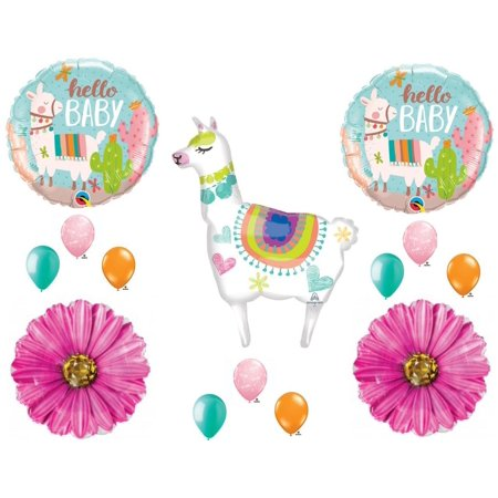 Llama Mama Baby Shower Girl Balloons Decoration Supplies - Girl Balloon