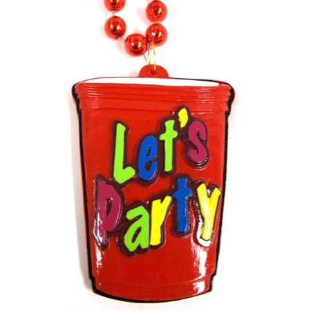 Let's Party Cup Mardi Gras New Orleans Necklace Beads Bead - Halloween Party 2017 New Orleans
