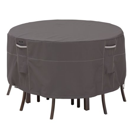 Classic Accessories Ravenna® Tall Round Patio Table & Chair Set Cover - Premium Outdoor Furniture Cover with Water Resistant Fabric, Small (55-187-015101-EC) ()
