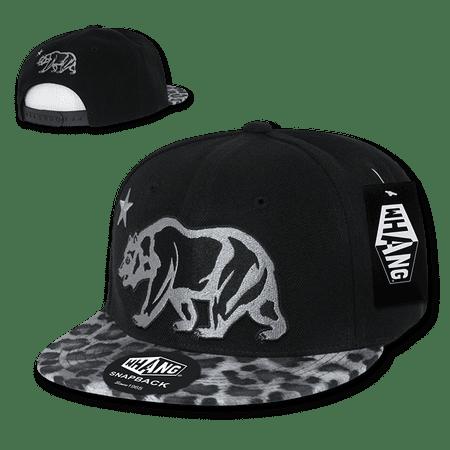 Animal Skin Hats (Whang Animal Skin Cali Bear Snapback Hat Hats Caps For Men Women Black)