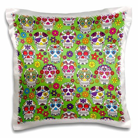 3dRose Colorful Sugar Skulls All In A Row With A Green Background Pattern - Pillow Case, 16 by 16-inch (Colorful Sugar Skull)